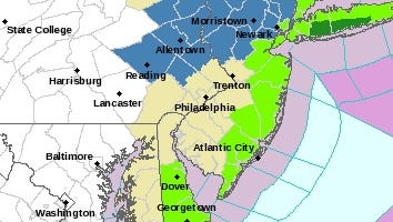 The bright green sections of the map were under a coastal flood advisory on March 5, 2018.
