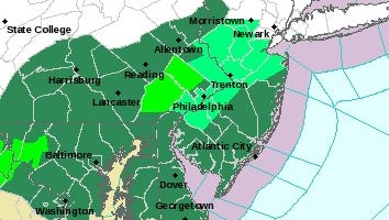The emerald-green sections of the map will be under a flood watch Thursday evening through late Friday night.