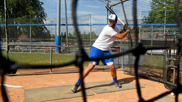 Staunton Braves' Kam Gellinger eyes the pitch and prepares to swing during batting practice on Friday. Gellinger comes to Staunton by way of the University of Central Florida.