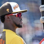National League outfielder Odubel Herrera of the Philadelphia Phillies during workout day before the MLB All Star Game at PetCo Park.