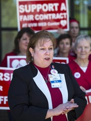 Laurie Aunchman, president of the Vermont Federation of Nurses and Health Professionals speaks in support of nurses Wednesday at the University of Vermont Medical Center in Burlington.