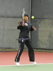 Wylie's Shruti Patel hits a shot at No. 3 singles against