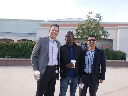 Water district officials Brian Macy, general manager; Kunle Ojo, management analyst: and Scott Trujillo, water conservation programs coordinator for the city of Indio's water authority.