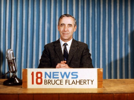 Bruce Flaherty at the 18 News desk in this undated