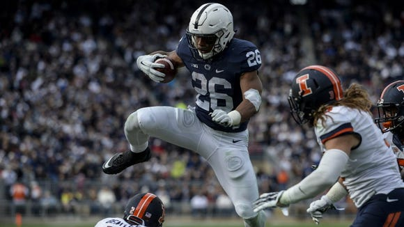 Jeremy Long/Lebanon Daily News Freshman Saquon Barkley has an opportunity to vault near the top of returning 2016 tailbacks with his performance in the TaxSlayer Bowl. Penn State's needs the electric Saquon Barkley, and other runners like him. But they may need better blocking up front even more.