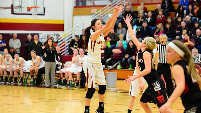 Luxemburg-Casco's Emily Schiltz puts up 3-pointer against Shawano last season. After dealing with multiple knee injuries, last year marked the first time Schiltz made it through a basketball season healthy since fifth grade.