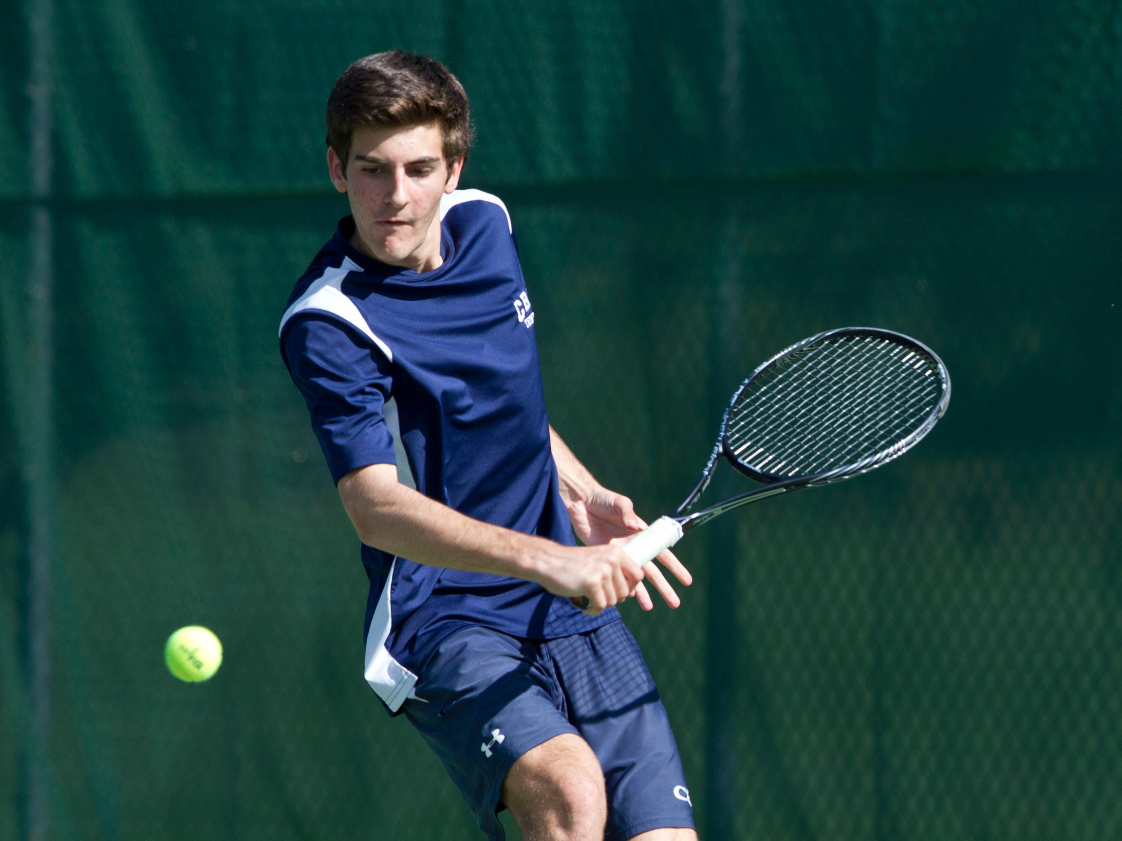 CBA's second singles player Sean Reilly. Shore Regional vs Christian Brothers Academy tennis. Lincroft, NJ Tuesday, April 28, 2015.