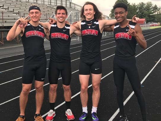 Crestview's 4x400 relay team of Garett Dudley, Christian
