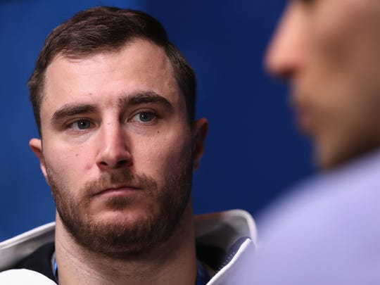 916053736.jpg PYEONGCHANG-GUN, SOUTH KOREA - FEBRUARY 09:  Sam McGuffie of The United States is interviewed during a United States Bobsleigh press conference ahead of the PyeongChang 2018 Winter Olympic Games at on February 9, 2018 in Pyeongchang-gun, South Korea.  (Photo by Alex Pantling/Getty Images)