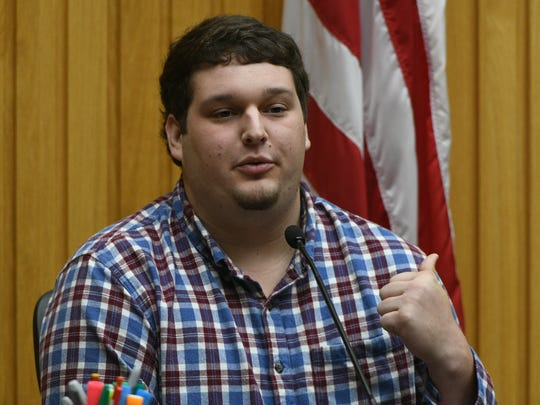 Walker Stanley testifies Friday, May 4, 2018 that Riley Gaul ask him how to remove fingerprints from a gun. Gaul, a former Maryville College football player, is charged in the 2016 shooting death of his 16-year-old ex-girlfriend Emma Jane Walker.