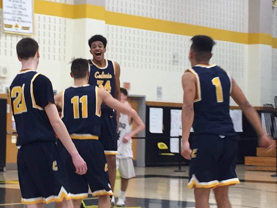 Colonia players celebrate advancing to the GMC Tournament