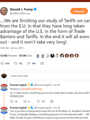 """In a June 26 tweet, President Donald Trump says the EU has """"long taken advantage of the U.S. in the form of Trade Barriers and Tariffs."""""""