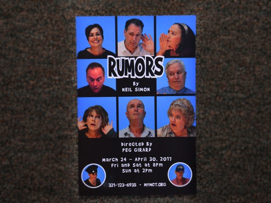 The Melbourne Civic Theater presents Neil Simon's Rumors, directed by Peg Girard. Play runs March 24th - April 30th, Fridays and Saturdays at 8:00 and Sundays at 2:00. Call 321 723-6935.