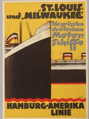 An advertising poster for the Hamburg-Amerika shipping line features its flagship transatlantic liner, the MS St. Louis. The St. Louis sailed from Hamburg, Germany, to Havana, Cuba, in 1939 filled with more than 900 mostly Jewish passengers but were denied entry to Cuba and eventually were forced to return to Germany.