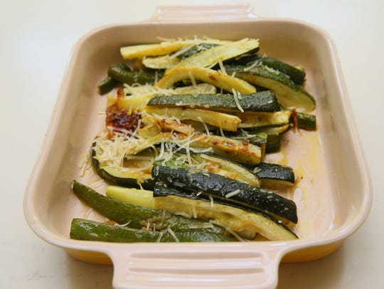 Oven-roasted vegetables are a good accompaniment for