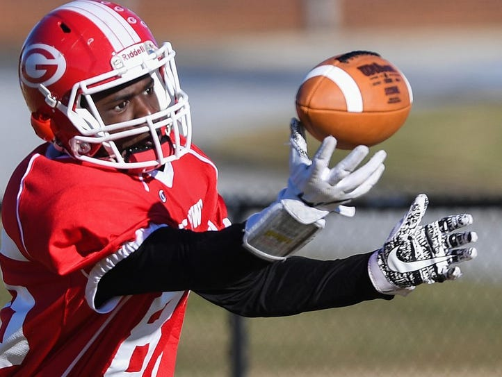 Greenville High wide receiver Ty Hellams pulls in a