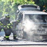 Raw video: A trade-in car catches fire at Paramus Honda