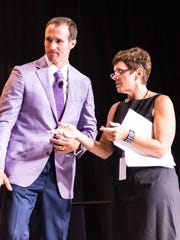 News director Kristin Askelson and Drew Brees at the 2016 Best of Prep banquet held at the Cajundome Convention Center on Tuesday night May 17, 2016.