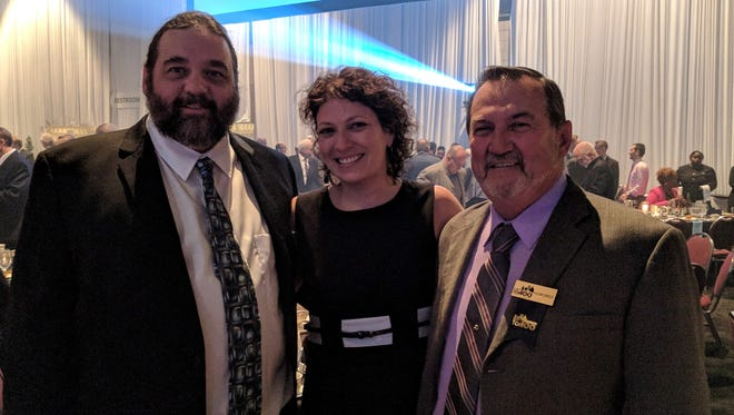 Daniel Merkle, Colonial Fire Protection Systems president, left, Trisha Merkle, chief financial officer and operations manager, and George Merkle, vice president, at the Rochester Chamber of Commerce Top 100 2017 event.