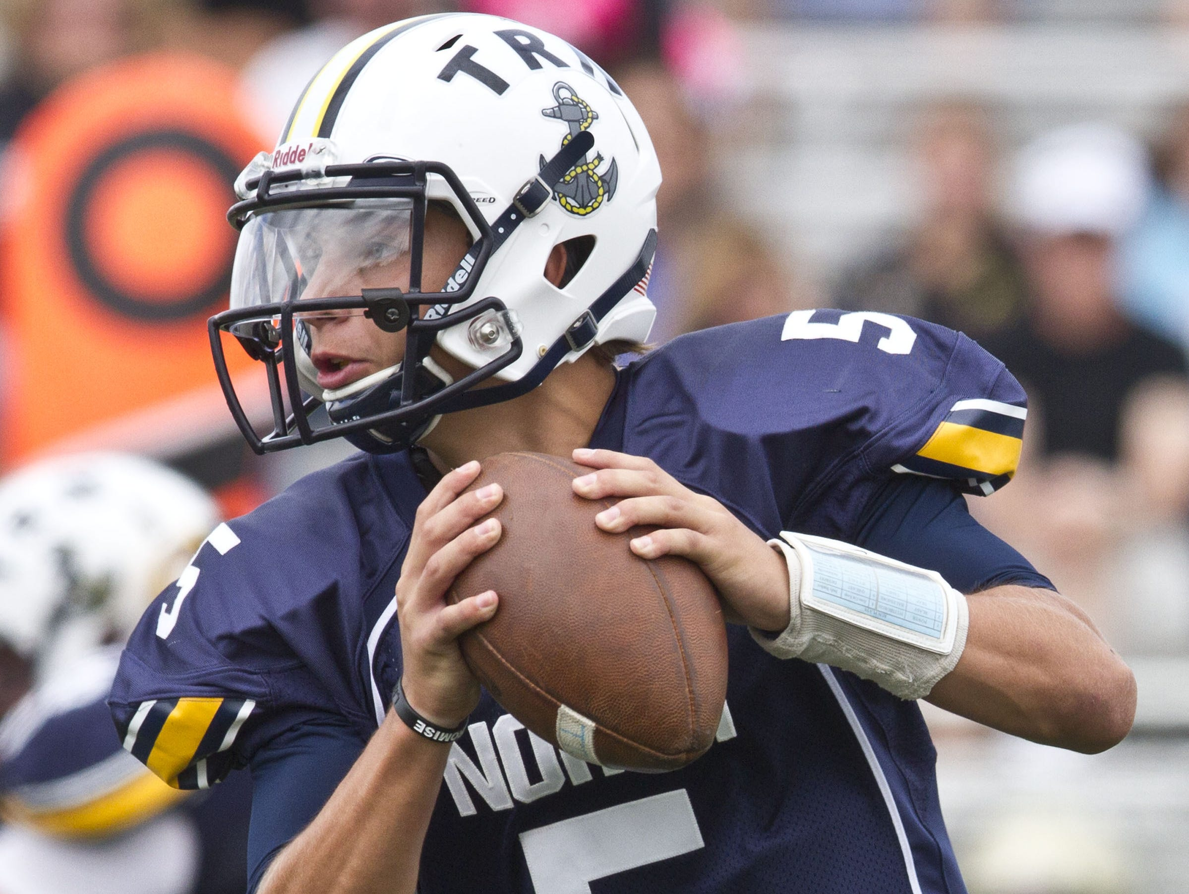 Toms River North quarterback Mike Husni looks to pass against Brick Memorial in the 2014 season. Toms River, NJ Saturday, September 20, 2014 Doug Hood/Staff Photographer