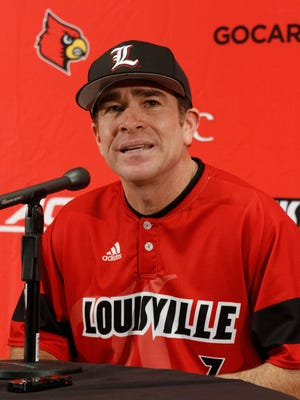 University of Louisville head baseball coach Dan McDonnell talks about his team during a media day press conference at the University of Louisville in Louisville, Kentucky.           February 9, 2015