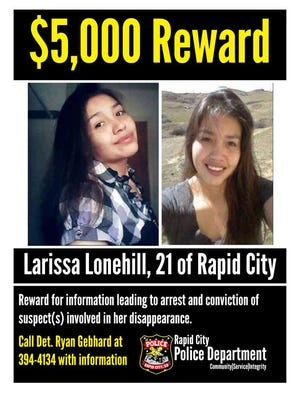 Rapid City police are offering a cash reward for help in finding Larissa Lonehill, who has been missing since November 2016.