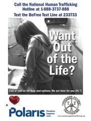 An example of a poster plastered around Sturgis during the motorcycle rally. Organizations plan to be out again in 2017 to educate about human trafficking at the rally.