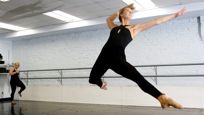 Pleasant's Paige Sims bounds through a series of steps during jazz dance rehearsal Wednesday at Edye Cook's School of Dance. Sims, a dancer since age 3, is The Marion Star Female Teen of the Month for May.