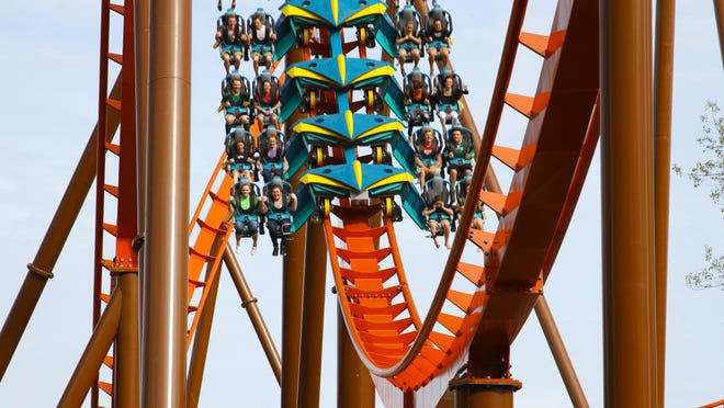 Riders on the Thunderbird, America's first launched wing roller coaster at Holiday World. Photo credit: Holiday World