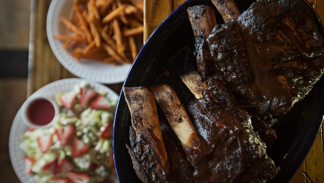 The falling-off-the-bone braised beef ribs with sweet potato fries will fill up the hungriest diner.