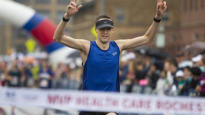 Daven Oskvig of Amherst won the MVP Health Care Rochester Marathon in 2 hours, 45 minutes, 40 seconds in 2014, finishing 32 seconds ahead of the runner-up.