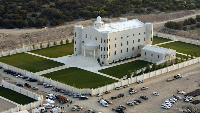 This Tuesday, April 8, 2008 photo shows an aerial view of the Fundamentalist Church of Jesus Christ of Latter Day Saints compound Yearning for Zion Ranch, in Eldorado, Texas. Seven years after a massive police raid on the polygamous group's ranch, Schleicher County Sheriff David Doran is tasked with making sure the property stays intact, including the gleaming white temple built by the Utah-based group led by Warren Jeffs, as the state tries to sell the expansive property.
