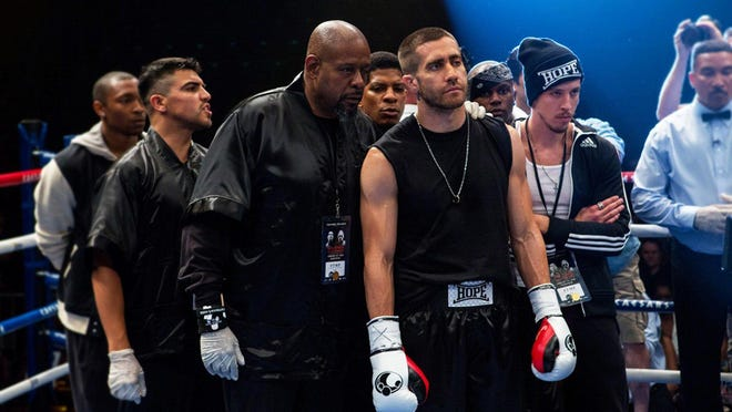 "Forest Whitaker as trainer Tick Wills and Jake Gyllenhaal as boxer Billy Hope in ""SSouthpaw."""