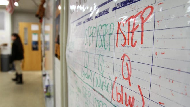 ISTEP reminders are posted on a middle school bulletin board in this file photo.