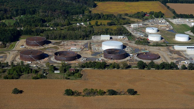 An aerial look at Enbridge's Stockbridge Station, where five 16.4-million-gallon tanks are under construction. The facility helps Enbridge move petroleum products among three pipelines that cross the site.