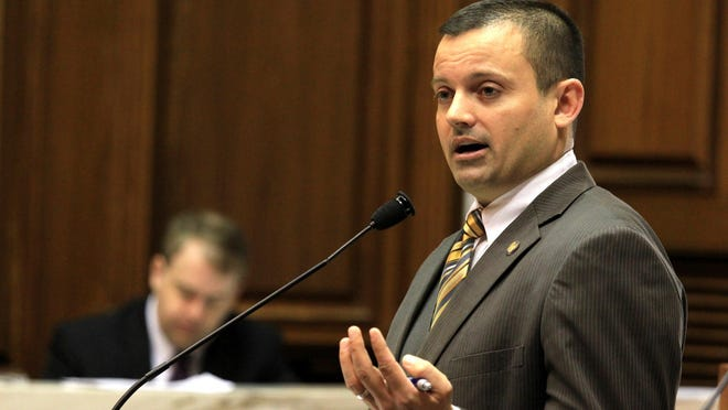 Rep. Jud McMillin, R-Brookville, told lawmakers that his plan to drug test some welfare recipients would give those who are positive an opportunity to get help before they'd lose assistance. Photo by Lesley Weidenbener, TheStatehouseFile.com