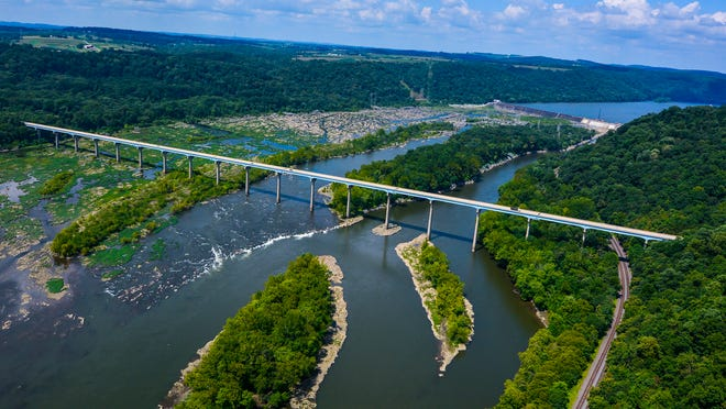 Norman Wood Bridge and the Holtwood Dam are shown on the Susquehanna River. The river has long and important history in the immediate region and beyond.
