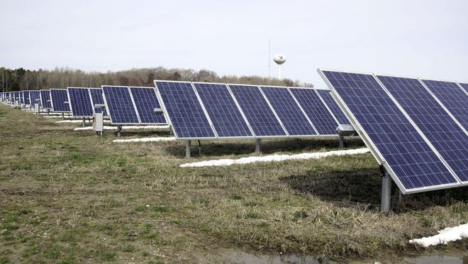 Six Flags Great Adventure proposes to build a solar farm like this one on a wooded part of its property in Jackson.