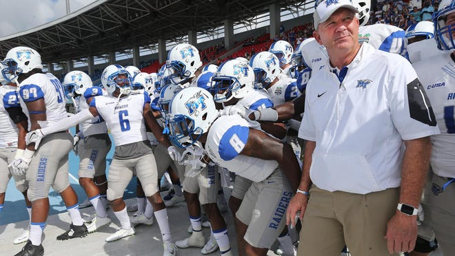 MTSU coach Rick Stockstill said his team will have to prepare for the seven road games they have this season.