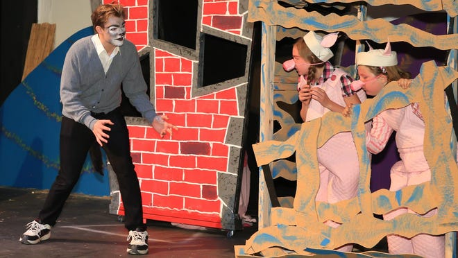 Papa Wof (Zachary Ludden) talking to 2 of the little pigs (L-R) Brooke Ludden, Joanna Cautho)