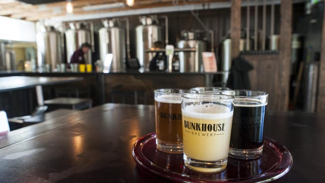 A flight at Bunkhouse Brewing in Bozeman, not far from Montana State University.