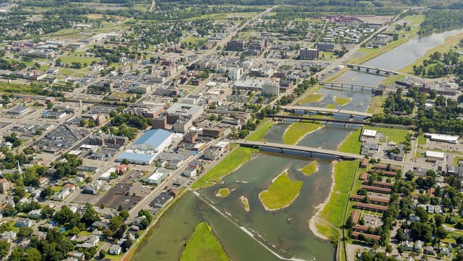 SIMON WHEELER / STAFF PHOTO An aerial view of downtown Elmira and the Chemung River in 2014. An aerial view of downtown Elmira and the Chemung River in 2014.