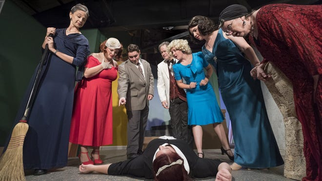 "Elizabeth Bates, left, Shauna Dolin, Ace White, Mike Hamilton, Jennifer Hamilton, Andrea Barnier, Virginia Speckman and Lauren Fonseca, on the floor, rehearse for Encore Theatre Company's production of ""But Why Bump Off Barnaby?"" on Wednesday, September 28, 2016."
