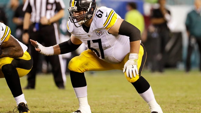 In this Sept. 25, 2016, file photo, Pittsburgh Steelers guard B.J. Finney (67) waits for the start of a play against the Eagles in Philadelphia.