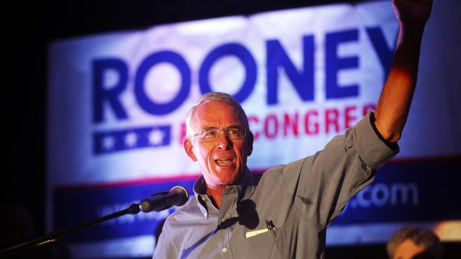 Francis Rooney addresses the crowd at his victory party at the Hyatt Regency Coconut Point on Aug. 30, 2016.