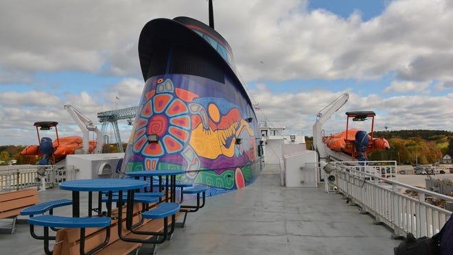 The colorful smokestack of the MS Chi-Cheemaun is the centerpiece of the ferry's outdoor mezzanine. To see more images of the ferry by photographers Tina M. Gohr and Stever Reinke, go to www.doorcountyadvocate.com.