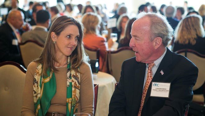 Keynote speaker Constance Hunter, chief economist at KPMG, talks with Congressman Rodney Frelinghuysen at The Morris County Chamber of Commerce at the Annual Economic Outlook Luncheon.