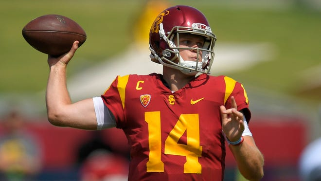Southern California quarterback Sam Darnold passes during the first half of an NCAA college football game against the Western Michigan, Saturday, Sept. 2, 2017, in Los Angeles. (AP Photo/Mark J. Terrill)