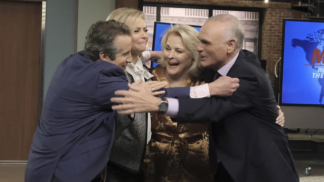 """Grant Shaud, from left, Faith Ford, Candice Bergen and Joe Regalbuto embrace during a taping of the revival of """"Murphy Brown."""""""