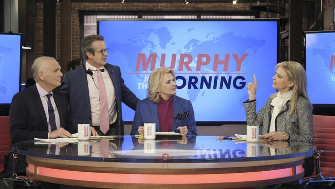 Murphy Brown returns to CBS on Thursday. Pictured L-R: Joe Regalbuto as Frank Fontana, Grant Shaud as Miles Silverberg, Candice Bergen as Murphy Brown, and Faith Ford as Corky Sherwood.